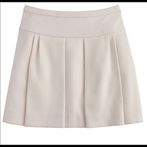 J.Crew Pleated Cream Mini Skirt Sz 2